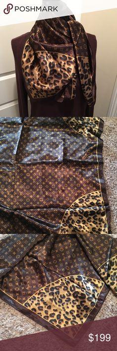 Authentic Louis Vuitton monogram cheetah 100% silk Brand new authentic Louis Vuitton monogram cheetah brown 100% silk square scarf 35 inches Louis Vuitton Accessories Scarves & Wraps