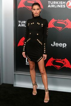 20 March Sara Sampaio was stunning in a black dress with eyelet detail to the Manhattan premiere.   - HarpersBAZAAR.co.uk