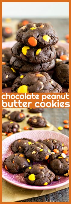 Chocolate Peanut Butter Cookies – Chocolate cookies are filled with peanut butter chips and Reese's Pieces to make for a chocolate Homemade Desserts, Easy Desserts, Delicious Desserts, Dessert Recipes, Winter Desserts, Cake Recipes, Breakfast Recipes, Chocolate Peanut Butter Cookies, Peanut Butter Recipes