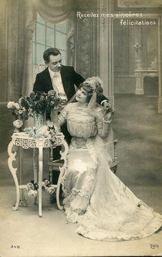 Vintage French Wedding Postcard, ca. 1900s