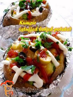 My Home Diary in Turkey: Kumpir (Stuffed Baked Potato) Frugal Meals, Easy Meals, Turkish Recipes, Ethnic Recipes, Stuffed Baked Potatoes, Vegan Recipes, Cooking Recipes, Easy Recipes, Good Food