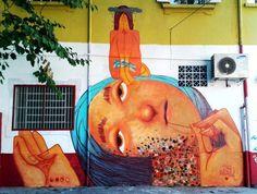"""by Magrela (Brazil) - """"Ali onde me escondo""""  - New murals in Sao Paulo, Brazil - Aug 2014"""