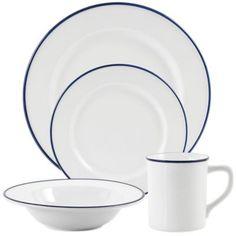 Everyday White Bistro Blue Dinnerware - BedBathandBeyond.com