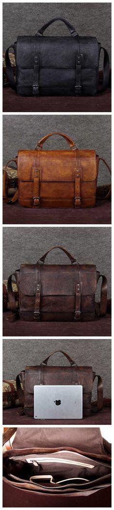 Handcrafted Genuine Full Grain Mens Leather Messenger Shoulder Bag F0006