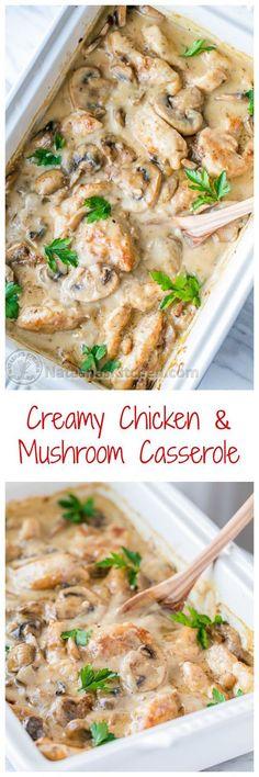 Creamy Chicken and Mushroom Casserole (aka Chicken Gloria) perfect for parties!