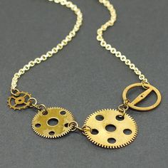 Steampunk Jewelry Brass Upcycled Clock Gear Necklace by Tanith