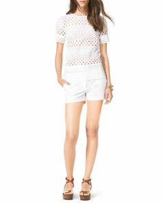 See-Through Eyelet Shirt & Mini Shorts by MICHAEL Michael Kors at Neiman Marcus.