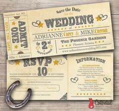 Western Rodeo Ticket Wedding Invitation PDF by CottontailPress, $45.00