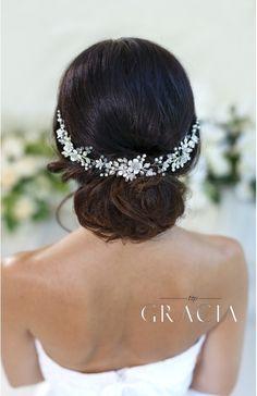 DORCIA White Silver Wedding Bridal Flower Crown by TopGracia #topgraciawedding #bridalhairpiece #bridalhairflowers