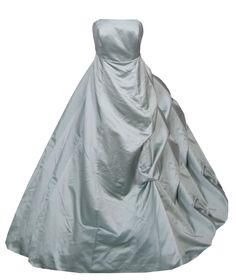 Gray Strapless Bustle Ball Gown