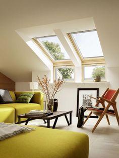 Fenêtre de toit à rotation Velux GGL Standard bois 55 x cm - Attic Living Rooms, Living Room Decor, Loft Room, Bedroom Loft, Loft Conversion Rooms, Loft Conversions, Flat Ideas, Loft Spaces, Home Design Plans