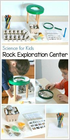 for Kids: Setting up a rock exploration center. Such a fun, hands-on way for kids to learn about geology! ~ Science for Kids: Setting up a rock exploration center. Such a fun, hands-on way for kids to learn about geology! Kid Science, Science Center Preschool, Science Activities For Kids, Preschool Classroom, Science Lessons, Teaching Science, Science Projects, Science Experiments, Learning Activities