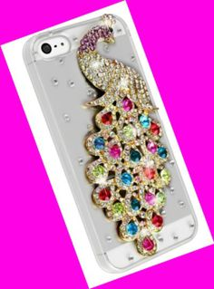BLING MULTI COLOR PEACOCK CLEAR IPHONE 5 CASE in The House of Diva