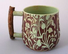 Ceramic Mug with Ponderosa Pine Handle  8 oz  Hand Thrown