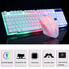 Good Offer for Gaming keyboard Colorful LED Illuminated Backlit USB Wired PC Rainbow Anti-skid and waterproof design Gaming Keyboard Mouse Set Gaming Computer Setup, Gaming Room Setup, Pc Setup, Computer Rooms, Gaming Rooms, Pc Gamer, Gamer Room, Apple Mac, Caps Game