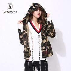 [TWOTWINSTYLE] 2016 Autumn Camouflage Print Jacket With Hat Women Coat Parker Windbreaker New