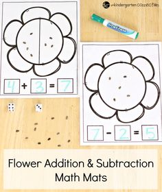 Practice addition and subtraction with these FREE PRINTABLE Addition and Subtraction Spring Flower Math Mats! Perfect for Kindergarten and First Grade! - Kids education and learning acts Subtraction Kindergarten, Subtraction Activities, Kindergarten Activities, Math Games, Preschool Activities, Numeracy, Word Games, Maths, Subtraction Strategies