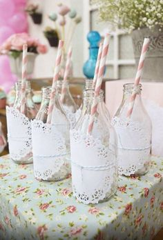 Guests will love the quirky vintage feel of these bottle ideas. Add guests name with table number for seating or use to hold candy for a great wedding favour.