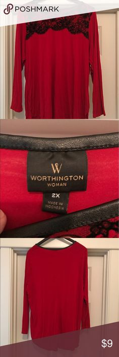 Worthington Woman 2X Top Worthington Woman 2X Top!  This is a great red top with a black lace!  The neckline is trimmed with a faux leather!  Great for work or that special date night!  ❤️❤️ Worthington Tops Blouses