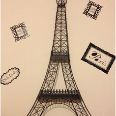Decorating on a budget! Eiffel Tower from a discount store and some left over wall stickers from my Paris themed bathroom.