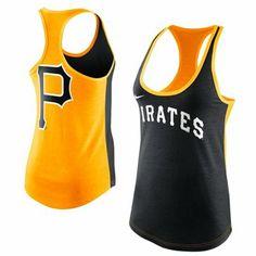 Nike Pittsburgh Pirates Womens MLB Tri-Blend Loose Fit Racerback Tank - Black/Gold