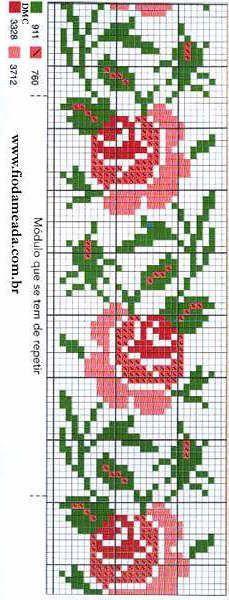 Bordados de coronas y motivos de rosas en punto de cruz