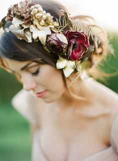 Red and gold headpiece. Florals: Bricolage Curated Florals. Photography: Kayla Barker Fine Art Photography - www.kaylabarker.com Read More: http://www.stylemepretty.com/2014/06/13/a-red-blush-gold-romantic-shoot/