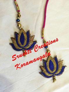 Saree Tassels Designs, Silk Saree Blouse Designs, Simple Blouse Designs, Dress Designs, Feather Design, Hand Designs, Textiles, Blue Lotus, Pink Design
