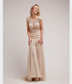 Cool champagne prom dress lace 2018