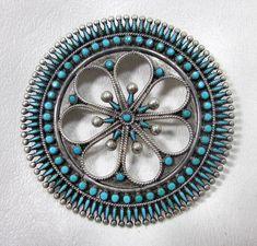 Vintage V.S. VS Johnson Petit Point Turquoise Zuni Sterling Silver Brooch Pin