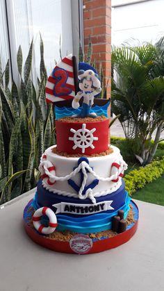 Bolo Mickey, Mickey Cakes, Mickey Mouse Cake, Mickey Mouse Birthday, 1st Boy Birthday, Sailor Birthday, Nautical Mickey, Nautical Cake, Mickey Mouse Marinero