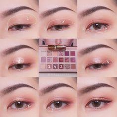 Pin by Maliko on Makeup Soft Eye Makeup, Asian Eye Makeup, Eye Makeup Steps, Skin Makeup, Eyeshadow Makeup, Beauty Makeup, Korean Eyeshadow, Everyday Eyeshadow, Asian Makeup Tutorials