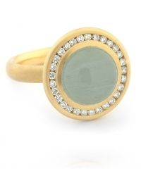 Aquamarine Cabochon & Diamond Ring by Anne Sportun