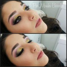 Maquiagem feita por Moniki Barcelos. Maquiagem com côncavo rosa e glitter dourado.