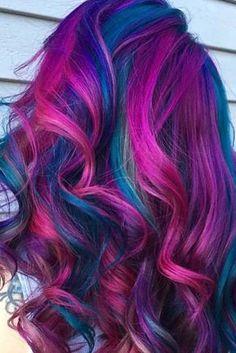 Rainbow hair colors, mermaid hair colors, bright hair colors, crazy hair co Vivid Hair Color, Pretty Hair Color, Bright Hair Colors, Hair Dye Colors, List Of Hair Colors, Peacock Hair Color, Galaxy Hair Color, Colorful Hair, Coloured Hair