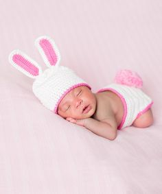 Another great find on #zulily! Melondipity White Knit Bunny Ear Beanie & Tail Diaper Cover - Infant by Melondipity #zulilyfinds