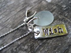 Genuine Sea Glass Jewelry - Light Blue Sea Glass Wish Necklace - Natural sea glass necklace. $40.00, via Etsy.