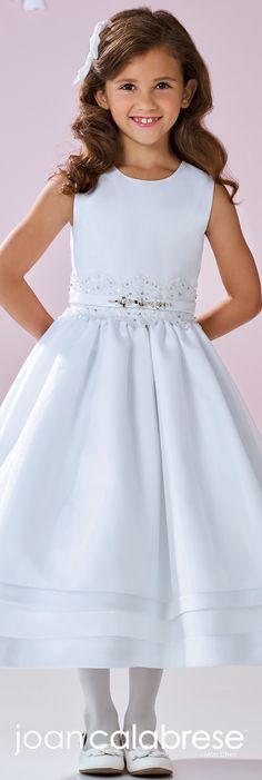 Joan Calabrese for Mon Cheri - Spring 2017 - Style No. 117361 - sleeveless tea-length flower girl dress with beaded lace waistband and satin bands at hem