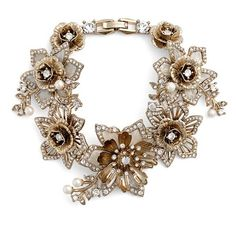 Women's Marchesa Faux Pearl & Crystal Bracelet ($175) ❤ liked on Polyvore featuring jewelry, bracelets, gold, crystal jewellery, marchesa, crystal bangles, sparkle jewelry and fake pearl jewelry