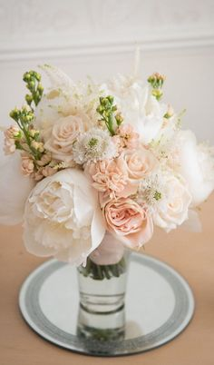 gorgeous peach and white wedding bouquet ~ we ❤ this! moncheribridals.com
