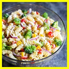 An easy Cold Pasta Salad recipe with broccoli, peppers, zesty Italian dressing and Parmesan cheese. Make it ahead; the flavor gets even better as it sits! An easy Cold Pasta Salad recipe with broccoli, peppers, zesty Italian dressing a… Easy Cold Pasta Salad, Healthy Pasta Salad, Best Pasta Salad, Pasta Salad Italian, Healthy Pastas, Healthy Dishes, Cold Pasta Recipes, Chicken Pasta Salad Recipes, Easy Pasta Salad Recipe