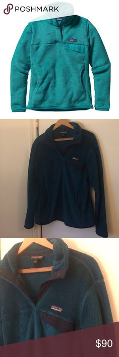 Patagonia fleece pullover in dark teal Beautiful Patagonia re-tool fleece pullover in a dark teal, or a dark turquoise color. Deep navy blue detail. Fantastic condition, barely worn. Stock photo only used to get a better shot of what the pullover looks like. IRL pictures show the color. Same style. Patagonia Sweaters
