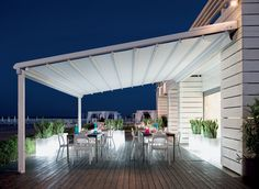 Retractable Canopies- great idea so that we can get light into the house and have the canapy at dinner time.  Must be durable, if not durable then not a good idea.