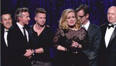 '21' winning album of the year...this was a MASSIVE win....and yes, that is OneRepublic's lead singer, and mr paul epworth, and abunch of execs up there...Adele SO deserved to snot for this one! ;)