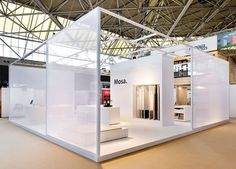 Semi-transparent walls are a great way of dividing up space without making a stand feel too enclosed. Kiosk Design, Display Design, Retail Design, Pop Display, Exhibition Stall, Exhibition Stand Design, Exhibition Display, Showroom Design, Office Interior Design