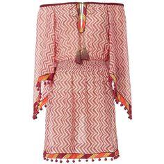 Talitha Women's Zig Zag Print Kimono Sleeve Dress (4 880 ZAR) ❤ liked on Polyvore featuring dresses, multi, bohemian style dresses, smocked waist dress, red sleeve dress, multi-color dresses and keyhole dress