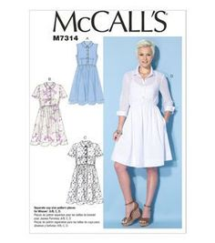 McCall Pattern M7314-A50 Misses' Button-Up Dresses-6-8-10-12-14