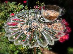 Bird Feeder Made From Vintage Snack Tray And Cup - Daisy - Sunflower - Garden…