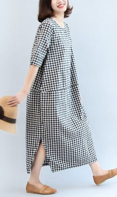 black white plaid cotton plus size  half sleeve maxi dress side open
