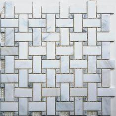 Lyric Naturals White & Grey Marble Basketweave Pattern Stone Mosaic Tile, Marble Mosaic, Mosaic Glass, Marble Bathroom Floor, Master Bathroom, Best Floor Tiles, Tile Crafts, Wood Look Tile, Mosaic Patterns